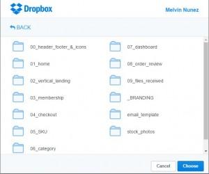 Picsera's Dropbox chooser