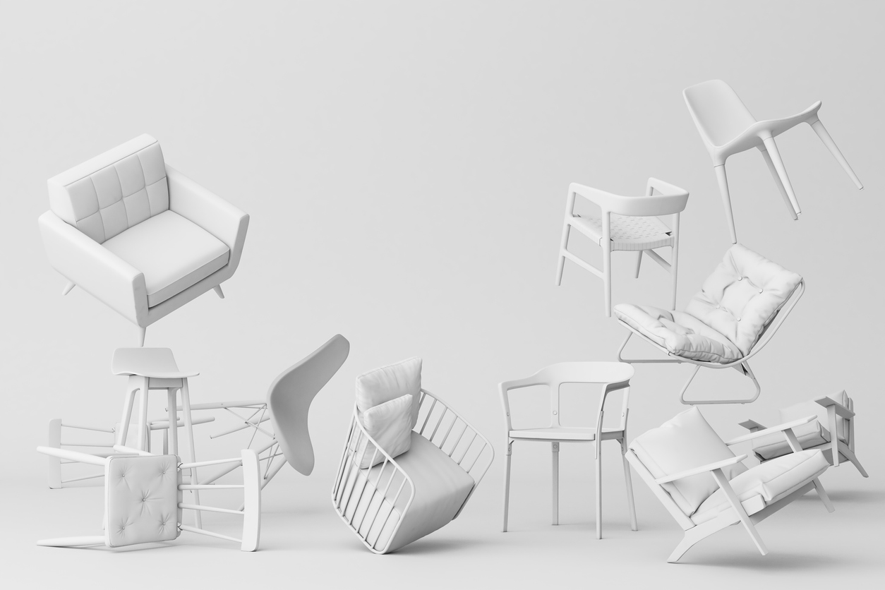 pastel chairs in empty background. Concept of minimalism & installation art. 3d rendering mock up